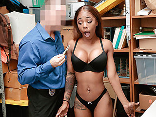This busty ebony thief chick gets her sex lesson from LP officer