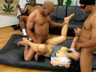 Black guys are fucking a petite brunette